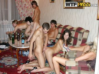 Hardcore group sex outdoor and also at home