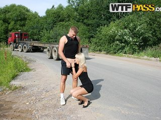 Kinky blonde participates in street fucking