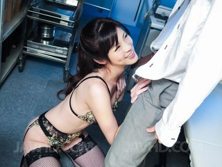 Sara Yurikawa in sexy lingerie gets cum from..